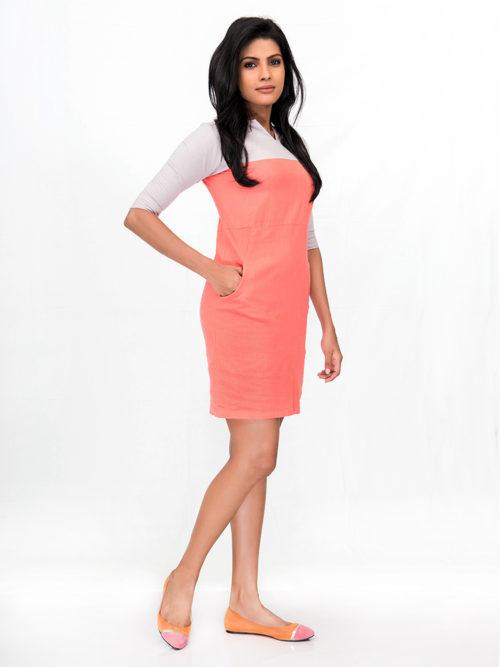 Linen Orange Dress