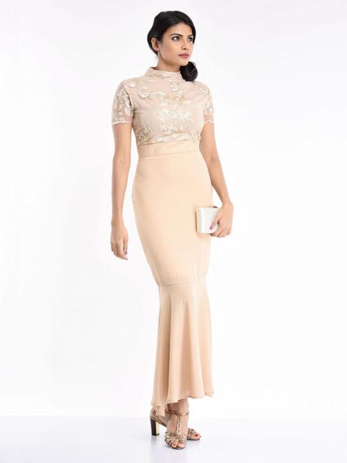 Lace Beige Dress - Women / Dresses