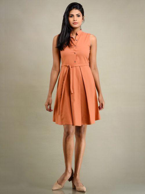 Linen Pleated Dress