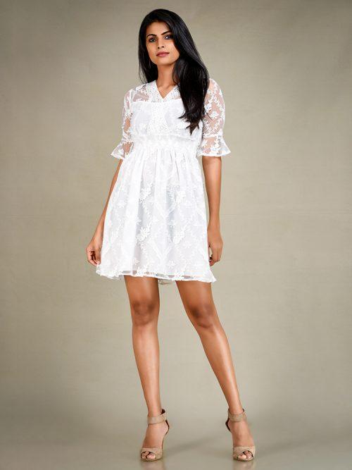 White Lace Dress - Women / Dresses